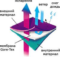Схематическое изображение структуры мембранной одежды